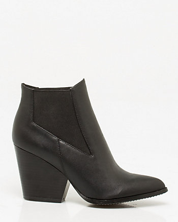 Leather-Like Pointy Toe Ankle Boot