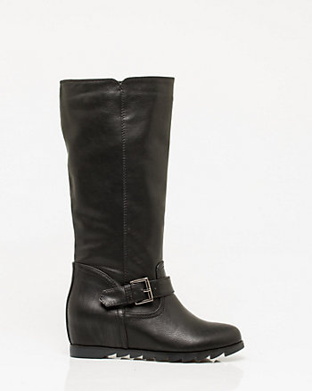 Leather-Like Hidden Wedge Boot