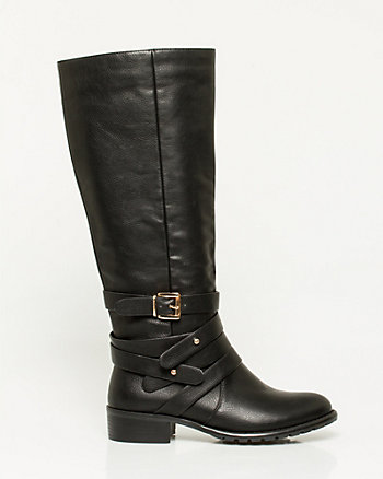 Leather-Like Knee-High Riding Boot