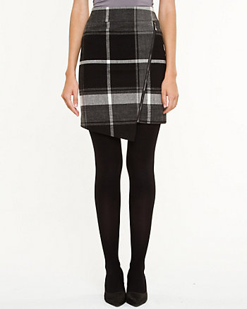 Check Asymmetrical Mini Skirt