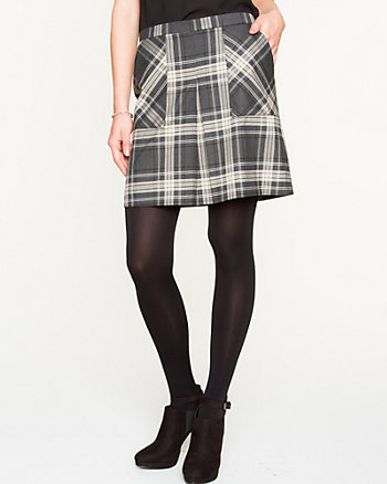 Plaid Box Pleat Skirt