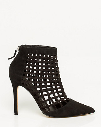 Suede Pointy Toe Cage Shootie