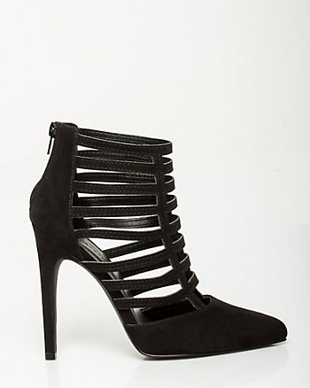 Faux Suede Pointy Toe Cage Shootie