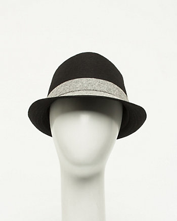 Wool Blend Colour Block Fedora