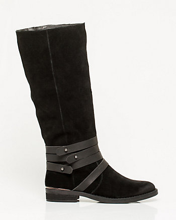 Suede Almond-Toe Boot