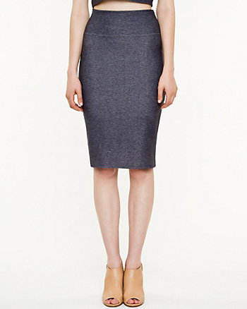 Knit Denim Pencil Skirt