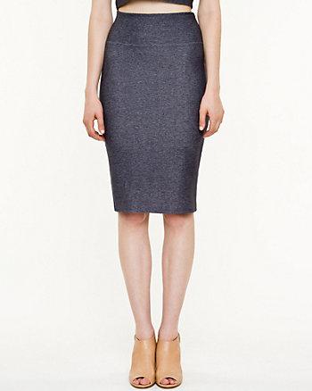 Knit Denim Pencil Skirt