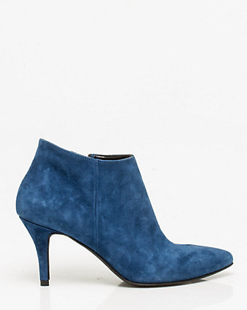 Italian-Made Suede Pointy Toe Ankle Boot