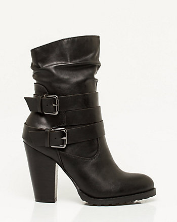 Leather-Like Buckle Mid-Calf Boot