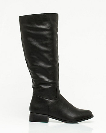 Leather-Like & Lycra Knee-High Boots