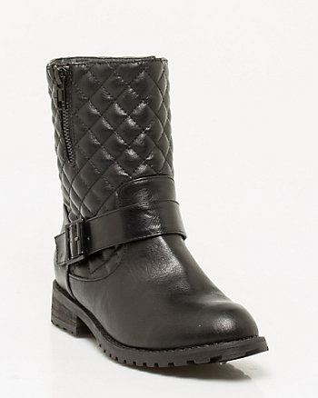 Quilted Faux Leather Ankle Bootie
