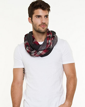 Cotton Check Infinity Scarf