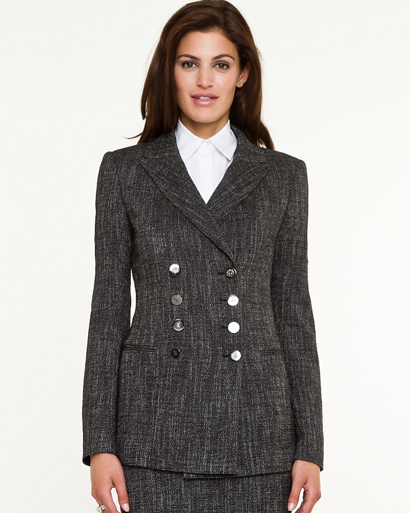 Tweed Double Breasted Blazer Le Chateau