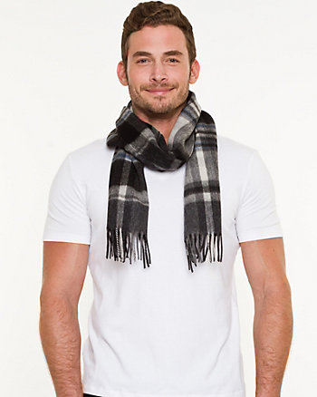 Check Print Wool Scarf