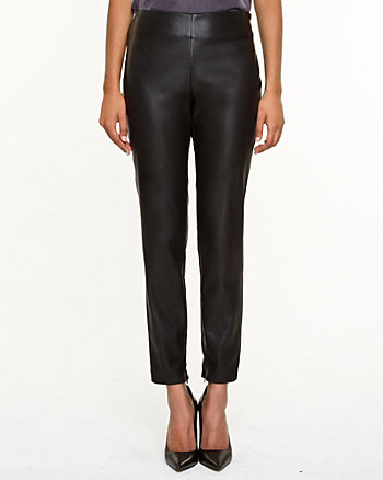 Leather-Like Slim Leg Pant