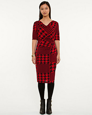 Houndstooth Knit Fitted Dress