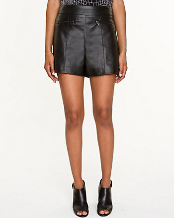 Leather-Like Exposed Zipper Short