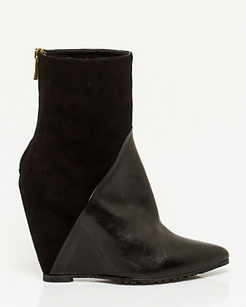 Italian-Made Leather Wedge Bootie