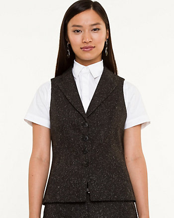 Wool Blend Notch Collar Vest