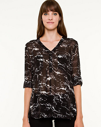 Chiffon Abstract Print Henley Blouse