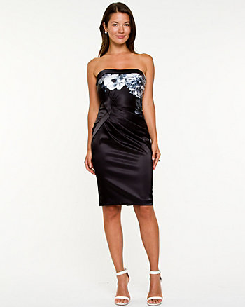 Floral Satin Tube Dress
