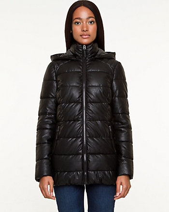 Leather-Like Puffer Coat