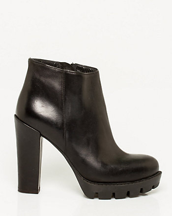 Italian-Made Leather Lug Sole Ankle Boot