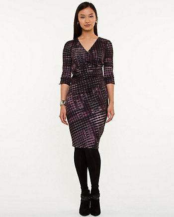 Geo Print Knit Wrap Dress