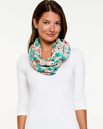 Floral Jersey Knit Infinity Scarf