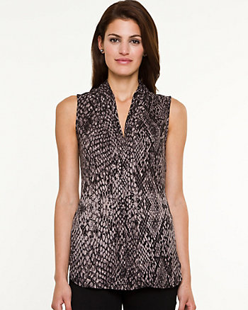 Snake Print Crêpe de Chine Sleeveless Blouse