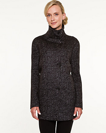 Double Knit Funnel Neck Cocoon Coat