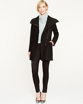 Boiled Wool Asymmetrical Coat