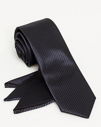 Stripe Microfibre Tie & Pocket Square Set