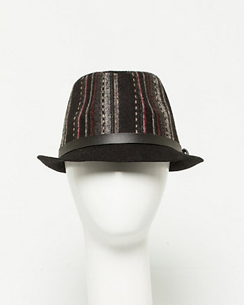 Stripe Wool Fedora Hat