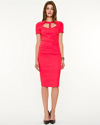 Woven Cutout Fitted Dress