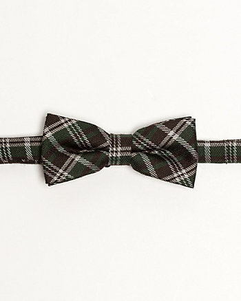 Check Print Wool Blend Bow Tie