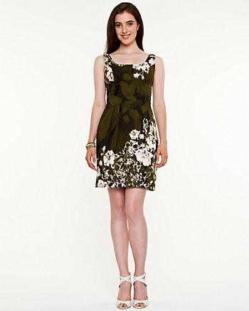 Floral Stretch Poplin Fit & Flare Dress