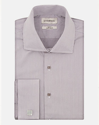 Stripe Cotton Sateen Slim Fit Shirt