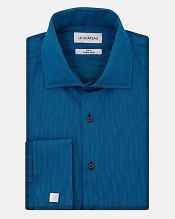 Stripe Cotton Sateen Slim Fit Shirt