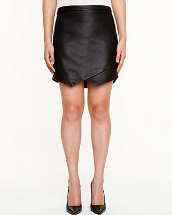 Leather-Like Snake Embossed Skirt