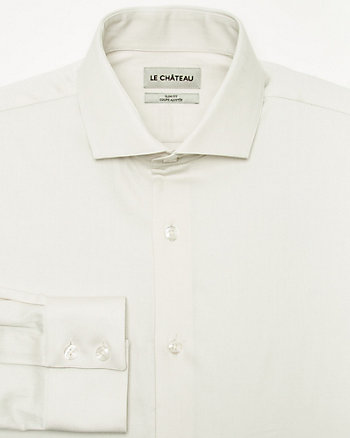 Two-Tone Cotton Blend Slim Fit Shirt