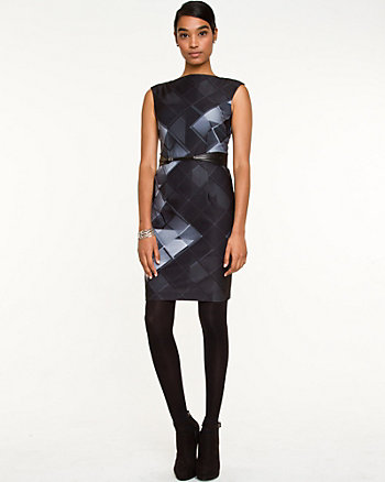 Geo Print Ponte Shift Dress