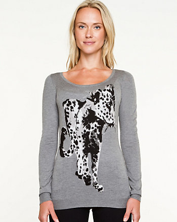 Cheetah Print Crew Neck Sweater