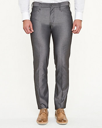 Cotton Herringbone Slim Leg Pant