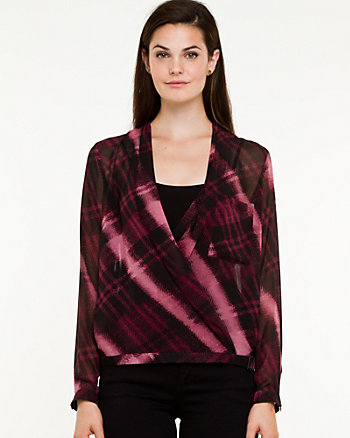 Check Print Wrap Blouse