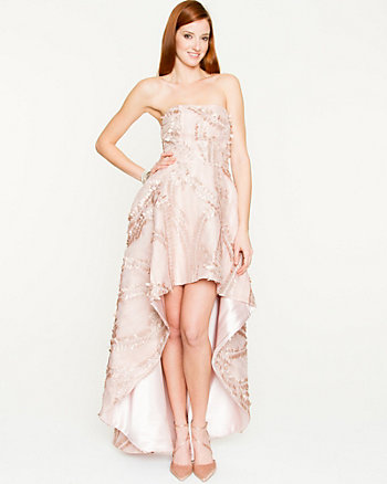 Embroidered Organza High-Low Gown