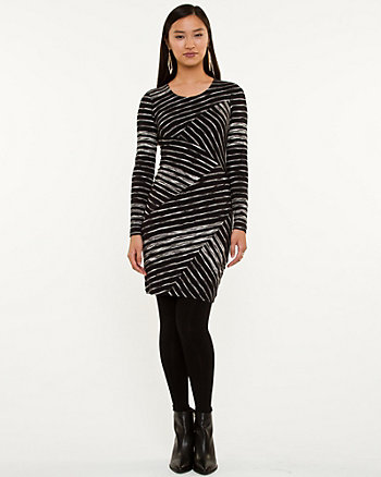 Stripe Jersey Knit Fitted Tunic