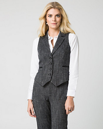 Tweed Notch Collar Vest
