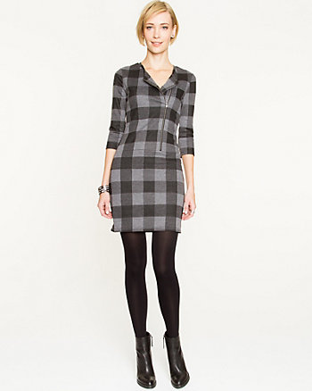 Check Print Double Knit Dress