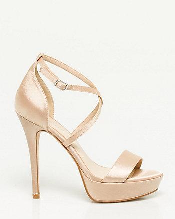 Sandale plateforme en satin
